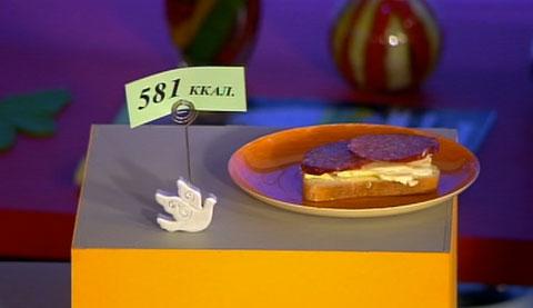 Бутерброд с маслом и колбасой калорийность
